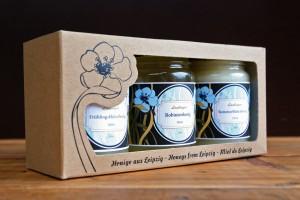 Geschenkbox drei Sorten Honig aus Leipzig